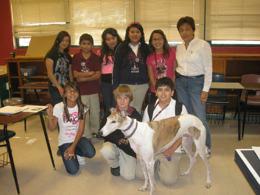 Teacher Maru Vigo with Jett the greyhound gave a presentation to her students at the Doolen Middle School, AZ